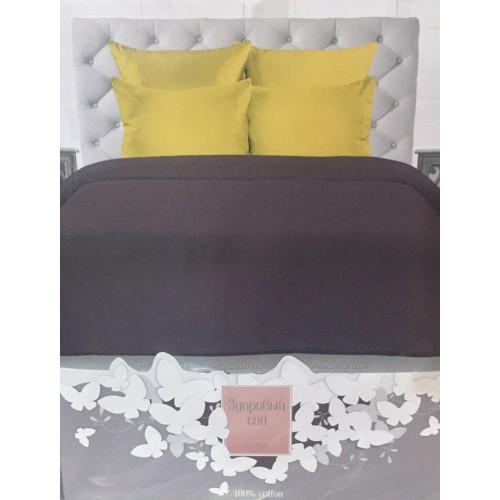 Комплект постельного белья «Сатин» однотонный, бордовый с желтым