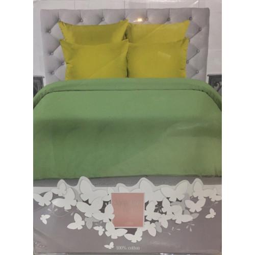 Комплект постельного белья «Сатин» однотонный, оливковый с салатовым