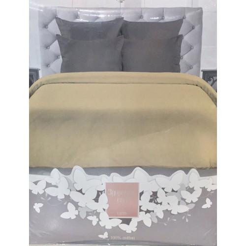 Комплект постельного белья «Сатин» однотонный, персик с серым