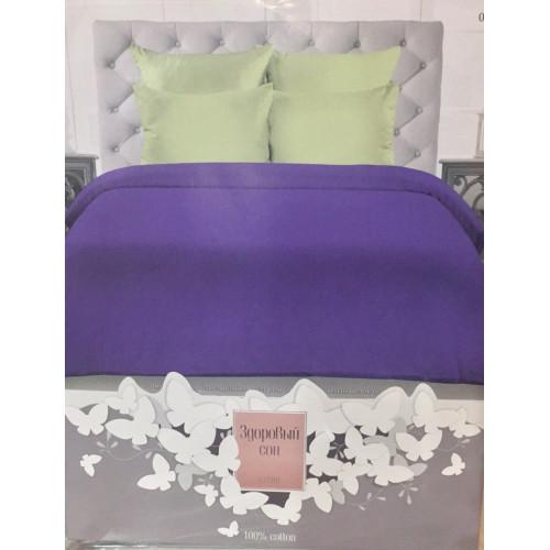 Комплект постельного белья «Сатин» однотонный, салатовый с фиолетовым