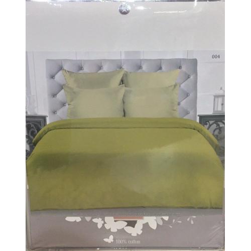 Комплект постельного белья «Сатин» однотонный, светло-серый с салатовым