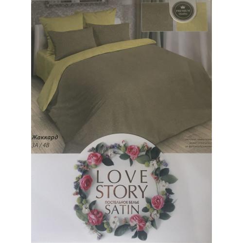 Комплект постельного белья «Жаккард-сатин» бежево-оливковый