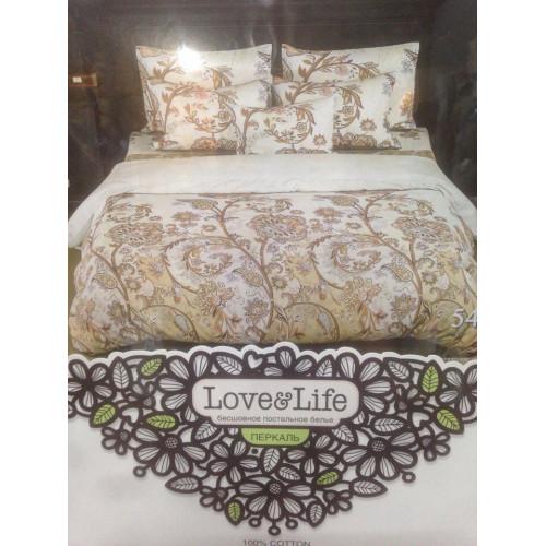 Комплект постельного белья «Перкаль» Коричневые цветы