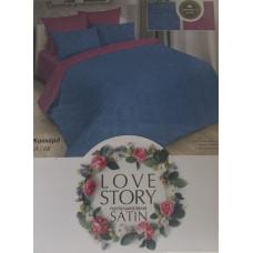 Комплект постельного белья «Жаккард-сатин» синий с фиолетовым